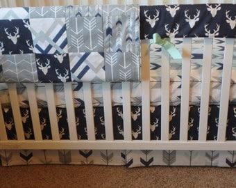 Bumperless Crib Set  Buck Woodlands  (navy, gray, mint)