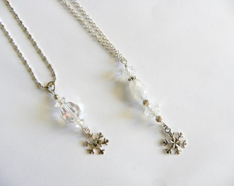 Snowflake Necklace - sterling silver and crystal drop, silver snowflake, winter necklace, festive holiday gift
