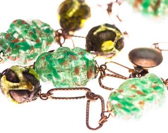 Chunky Art Deco Venetian Gold Foil Glass Vintage Italian Necklace Green Brown