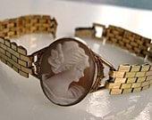 Vintage Shell Cameo Bracelet, 12k Goldfilled, Flat Silky Woven Band, Signed PR ST Co., Helmut Shell Portrait