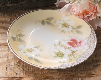 Antique German Porcelain Salad or Dessert Plate, Canapes Plate