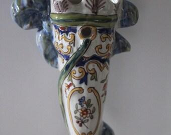 Desvres antique boquetiere, Antique flower holder Antique Cornet French home French style, French antique French vintage vase French faience
