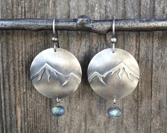 Silver Mountain Earrings with Labradorite stones - Mountain Earrings Sterling Silver Labradorite Earrings - Labradorite Jewelry