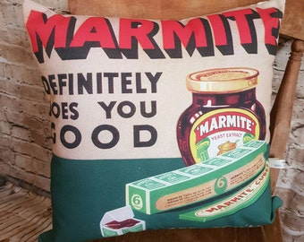 FREE UK POSTAGE Handmade Marmite Cushion Square With Or Without Inner