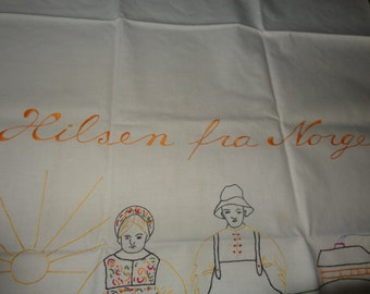 Antique  Hand Embroidered Table Scarf- Norwegian