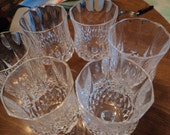 Lead crystal cut glass wine goblets/clear lead crystal/heavy weight/ elegant