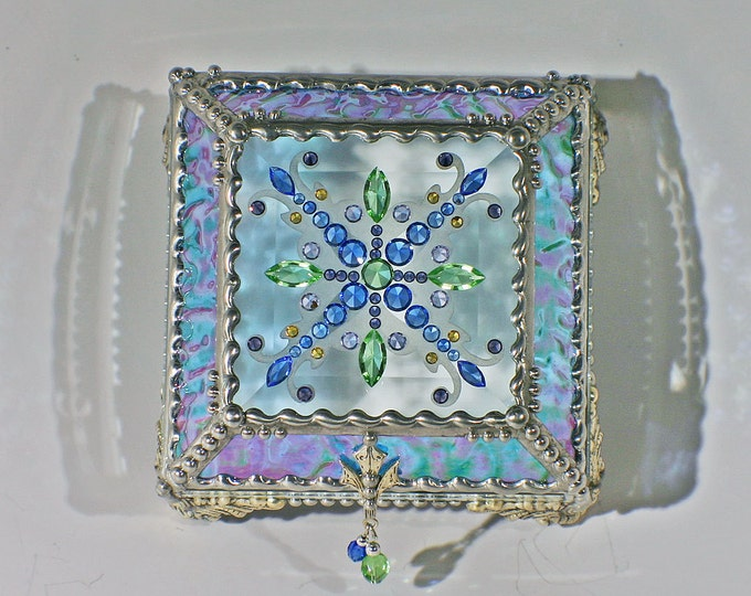 Jewel Encrusted Treasure Box -4x4 Light Blue Iridized