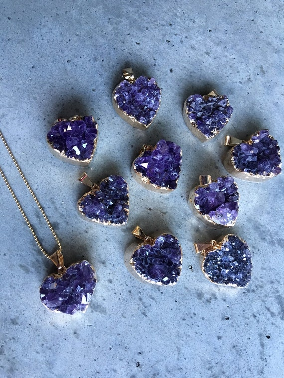 Amethyst Heart Druzy Necklaces