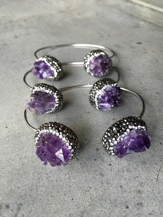 Amethyst Bracelets, raw Crystal