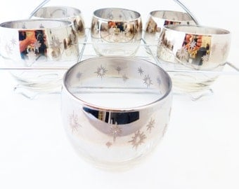 Mid Century Barware - Set of 6 Silver Ombre Lusterware Roly Poly Glasses, Low Balls, Chrome Rack Carrier, Whiskey Glasses -