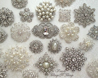 SALE 20,30,40,50,60 pcs Mix Ex-large Lg Med Bridal Brooch Bouquet SILVER or GOLD Crystal Pearl Rhinestones Brooches Vintage Replicas Wedding