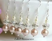 Swarovski Pearl, Grey Ivory Bridal Earring, Bridesmaid Jewelry, Wedding Earring, Bridesmaid Gift, Silver Dangle Earring, Bridal Accessories