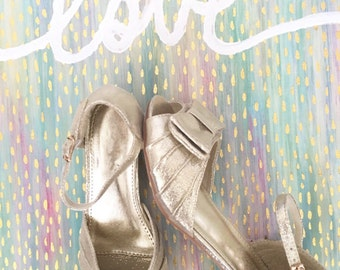 KIDS GIRLS SHOES -Gold Peep Toe Satin Heel Sandals. Perfect for princess, fairies, and flower girl shoes