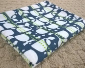 Whale of a tail receiving blanket-blue green and grey