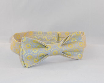 Light Gray And Yellow Men's Adjustable Bow Tie