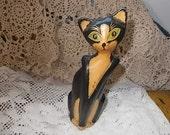 Cat wood,Primitive Vintage Wooden Cat ,Cat Decor,Wooden Figurine, Vintage Home Decor,Primitive, :)S