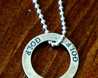 Golf Necklace -Golf Affirmation -Coach Gift-Player Gift- Golfer Jewelry-Golf Pendant Necklace