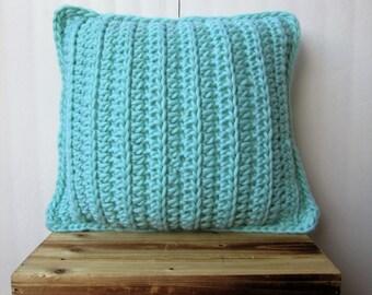 Crochet Pillow / Mint Pillow  / Chunky Wool Pillow / Super Soft Handmade Pillow / Mint Home Decor