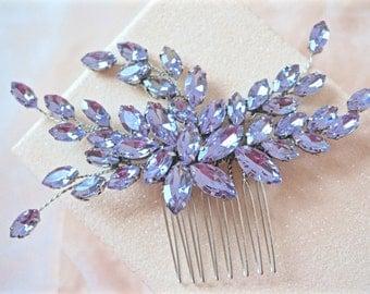Lilac Rhinestone Hair Comb,Purple Rhinestone Hair Comb, Purple Bridal Hair Comb,Purple Wedding Hair Comb, Lavender Hair Comb
