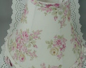 """Vintage Cottage Chic Lamp Shade, Pink Roses with Green Leaves, Ruffled Edge, 9 1/2"""" Tall"""
