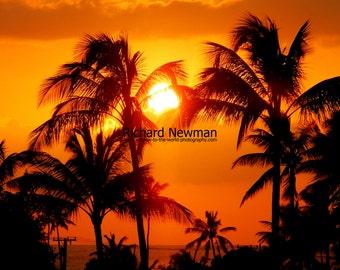 Sunset Kauai, Black and Orange Shades, Wall Art, 11 x 14 photograph