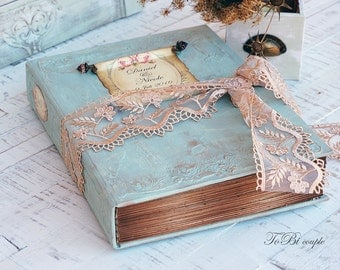 Wedding Guest Book ,Mint Green,  Photo album A4 size 8.5X 11, Shabby Chic Wedding, Custom Wedding Photo Booth album