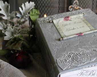 Wedding Guest Book, Gray, Burgundy, Silver Photo album, Shabby Chic Wedding, Custom Wedding Photo Booth album