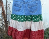 Size 10 Christmas Upcycled Jean Skirt