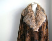 "1970s Fake/Faux-hide Coat, Faux-fur Trim - Vintage Coat Size 18 AUS, ""A Stanley's of Melbourne Creation"" 1970s Original"