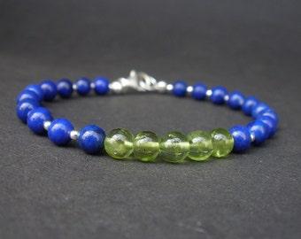 Natural Gemstone Peridot AA Grade 5.5mm Round Bead, Gemstone Lapis lazuli AA Grade 5.5mm Round, 925 Sterling Silver Bracelet