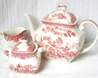 vintage red transfer ware tea set Wedgwood Asiatic Pheasants red stoneware red floral tea pot red cream set