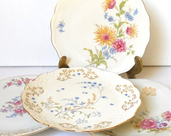 4 vintage mismatched salad plates floral breakfast plates floral side plates bridal shower tea party wedding P11