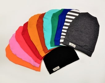 Solid Cotton Jersey Slouch Beanies