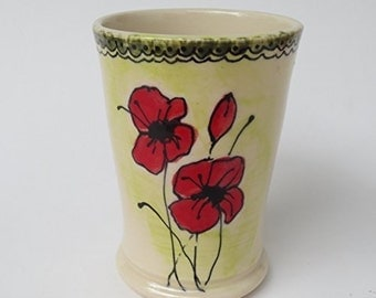 Ceramic Tumbler, ceramic drinking glass, ceramic vase, knitting needle caddy, hand painted poppies, floral cup