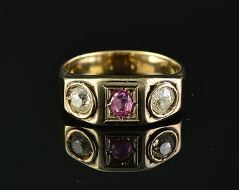 Glorious Victorian natural ruby and diamond trilogy ring