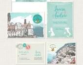 Destination wedding invitation Amalfi Coast Italy Positano Atrani Sorrento bilingual wedding invitation and RSVP card - Deposit Payment