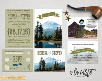 Rustic Mountain Wedding Invitation RSVP - illustrated wedding invitation invitation rustic wedding Colorado Montana Oregon Virginia Rockies