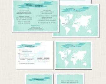 Destination wedding invitation Two Countries One Love Bilingual World Map Destination Wedding Invitation and RSVP Postcards - Design fee