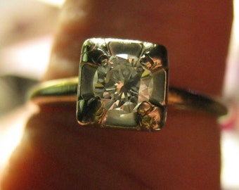 Diamond Engagement Ring Vintage Yellow Gold White Gold