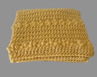 Crochet Baby Afghan, Gold Blanket, Gold Afghan, Doll Afghan, Baby Blanket Boy, Crochet Baby Blanket, Gold Baby Blanket, Crib Blanket,