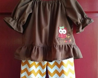 SAMPLE SALE Owl Two Piece Outfit Ruffled Peasant Top and Ruffled Pull On Pants Girls 3-4