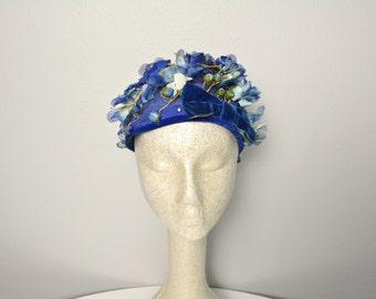 1950s 50s Vintage Women's Hat Blue Flowers