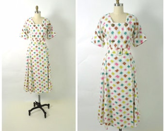 Vintage 1950s 50s Robe Dress Atomic Print Gown with Belt