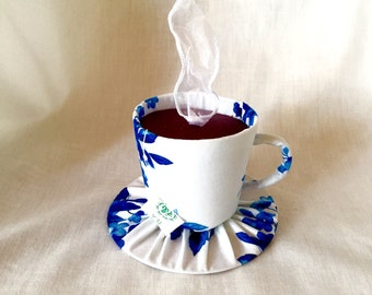 Tiny Top Hat: The Tea Cup blue -Scented- With White Ribbon Steam