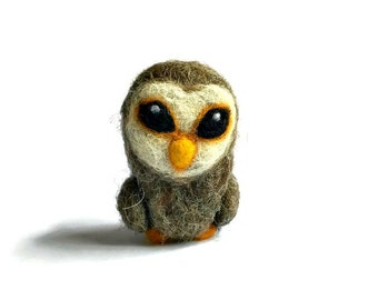 Felted Mini Tawny Owl Sculpture, Handmade Owl Gift, 'Pearl'