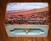 wood photo beach box, Psalm 46:10 jewelry box