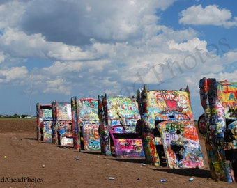 8 x 10 matted photograph Route 66, Cadillac Ranch