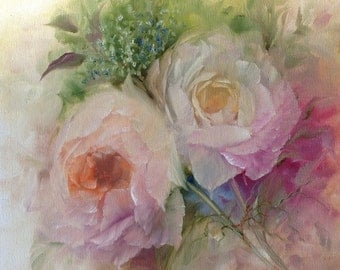 Sale Cottage Roses 12 x 12 inch deep box Canvas Oil Painting