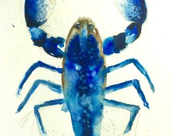 Blue Lobster // Print of Watercoloour Painting by Lucy Beevor