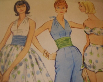 Vintage 1960's McCall's 5458 Halter, Pants or Shorts, Bra, Skirt Sewing Pattern, Size 14 Bust 34